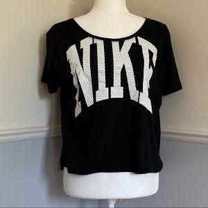 Nike logo black Crewneck crop top Athletic wear